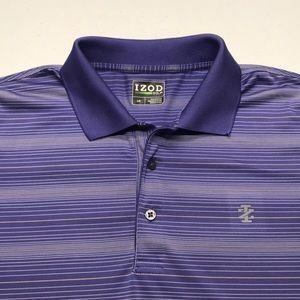 IZOD GOLF Mens Large Purple Striped Polo Shirt